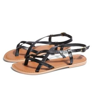 Topshop Black leather strappy sandals